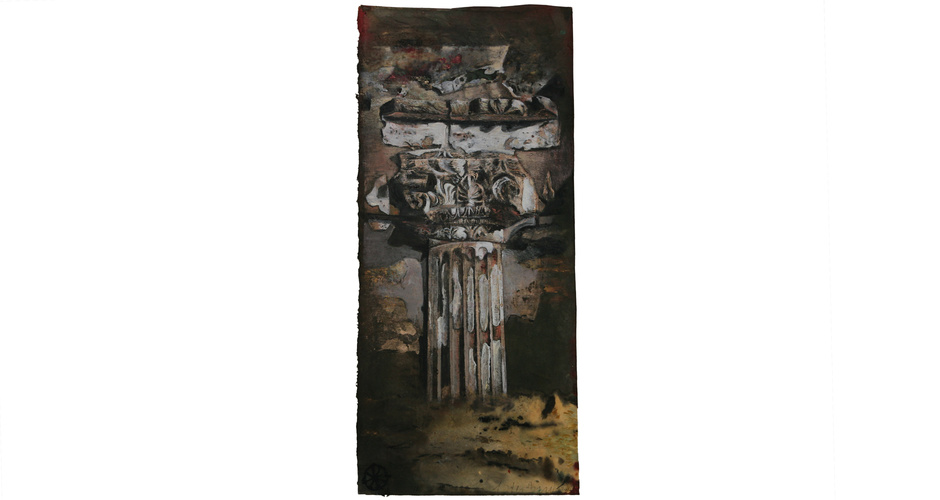 76.5cm x 35cm  tempera on handmade paper