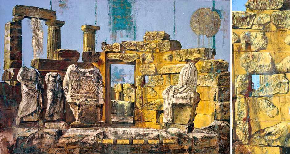 oil, tempera, and bronze on canvas 190cm x 130cm