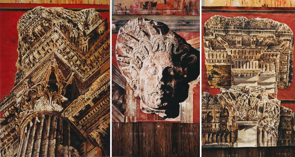 Baalbek Columns I oil on canvas 100cm x 70cm <br />Baalbek Head of Dionysus Tempera on handmade paper<br /> Baalbek Columns II Oil on canvas 100cm x 70cm