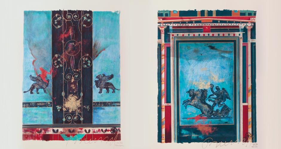 Griffins, silkscreen 80x60cm <br /> Sun Chariot, silkscreen 80x60cm